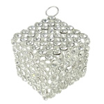 Rhinestone Brass Pendants, Cube, silver color plated, with rhinestone & hollow, nickel, lead & cadmium free, 30mm, Hole:Approx 4.5mm, 5PCs/Bag, Sold By Bag