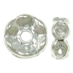 Iron Spacer Bead, silver color plated, with rhinestone, lead & cadmium free, 6x3.5mm, Hole:Approx 1mm, 100PCs/Bag, Sold By Bag