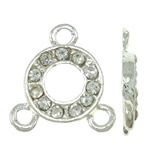 Brass Jewelry Connector, Donut, silver color plated, with rhinestone & 1/2 loop, nickel, lead & cadmium free, 14.50x15.50x2.50mm, Hole:Approx 1.5mm, 10PCs/Bag, Sold by Bag