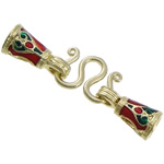 Brass Hook and Eye Clasp, gold color plated, enamel & two tone, nickel, lead & cadmium free, 33mm, 13.5x7x7mm, Hole:Approx 4mm, 2mm, 100PCs/Lot, Sold By Lot