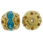 Iron Jewelry Beads, Round, gold color plated, with rhinestone & hollow, lead & cadmium free, 8mm, Hole:Approx 1mm, 100PCs/Bag, Sold By Bag