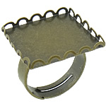 Brass Bezel Ring Base, antique bronze color plated, nickel, lead & cadmium free, 21x21mm, Inner Diameter:Approx 20mm, Size:6.5, 200PCs/Lot, Sold By Lot