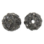 Rhinestone Clay Pave Beads, Round, with rhinestone, grey, 10mm, Hole:Approx 1.5mm, 10PCs/Bag, Sold by Bag