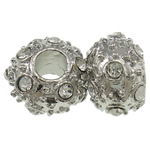 Zinc Alloy European Beads, Rondelle, platinum color plated, without troll & with rhinestone, nickel, lead & cadmium free, 17x11mm, Hole:Approx 6mm, 10PCs/Bag, Sold by Bag