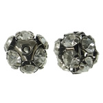 Brass Jewelry Beads, Round, plumbum black color plated, with rhinestone & hollow, nickel, lead & cadmium free, 11mm, Hole:Approx 1mm, 10PCs/Bag, Sold by Bag