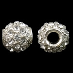Zinc Alloy European Beads, Drum, silver color plated, without troll & with rhinestone, nickel, lead & cadmium free, 11x11.5mm, Hole:Approx 4mm, 10PCs/Bag, Sold by Bag