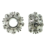 Zinc Alloy European Beads, Rondelle, platinum color plated, without troll & with rhinestone, nickel, lead & cadmium free, 11.5x8mm, Hole:Approx 4mm, 10PCs/Bag, Sold By Bag
