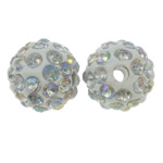 Rhinestone Clay Pave Beads, Round, AB color plated, with rhinestone, white, 10mm, Hole:Approx 1.5mm, 10PCs/Bag, Sold By Bag