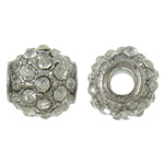 Zinc Alloy European Beads, Drum, platinum color plated, without troll & with rhinestone, nickel, lead & cadmium free, 11x10.5mm, Hole:Approx 4mm, 10PCs/Bag, Sold by Bag