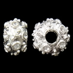 Zinc Alloy European Beads, Rondelle, silver color plated, without troll & with rhinestone, nickel, lead & cadmium free, 13x8mm, Hole:Approx 4mm, 10PCs/Bag, Sold By Bag