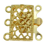 Zinc Alloy Box Clasp, Rectangle, gold color plated, 3-strand & hollow, nickel, lead & cadmium free, 17x16.50x4.50mm, Hole:Approx 1.5-2mm, Approx 10PCs/Bag, Sold By Bag
