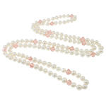 Crystal Freshwater Pearl Necklace, with Crystal, natural, white, 8-9mm, 10x9nmm, Sold Per 48 Inch Strand