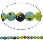 Бисер, выполненный в технике миллефиори, шеврон, Круглая, Связанный вручную, разноцветный, 8mm, отверстие:Приблизительно 1mm, длина:Приблизительно 15 дюймовый, 10пряди/Лот, продается Лот