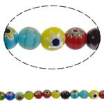Бисер, выполненный в технике миллефиори, шеврон, Круглая, Связанный вручную, разноцветный, 10mm, отверстие:Приблизительно 1mm, длина:Приблизительно 15.3 дюймовый, 10пряди/Лот, продается Лот