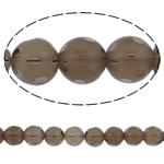 Natural Smoky Quartz Beads, Round, handmade faceted, 14mm, Hole:Approx 1.5mm, Length:15 Inch, 5Strands/Lot, Sold By Lot