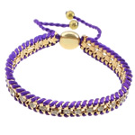 Friendship Bracelet, Iron, with Nylon Cord & Brass, gold color plated, with rhinestone, purple, nickel, lead & cadmium free, 12x14mm, 11mm, 4mm, 7mm, Length:7-12 Inch, 10Strands/Lot, Sold By Lot