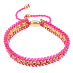 Iron Friendship Bracelet, with Nylon Cord & Brass, gold color plated, with rhinestone, pink, nickel, lead & cadmium free, 12x14mm, 11mm, 4mm, 7mm, Length:7-12 Inch, 10Strands/Lot, Sold By Lot