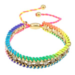 Iron Friendship Bracelet, with Nylon Cord & Brass, gold color plated, with rhinestone, rainbow colors, nickel, lead & cadmium free, 12x14mm, 11mm, 4mm, 7mm, Length:7-12 Inch, 10Strands/Lot, Sold By Lot