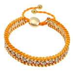 Iron Friendship Bracelet, with Nylon Cord & Brass, gold color plated, with rhinestone, orange, nickel, lead & cadmium free, 12x14mm, 11mm, 4mm, 7mm, Length:7-12 Inch, 10Strands/Lot, Sold By Lot