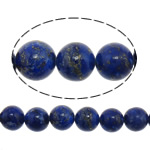 Natural Lapis Lazuli Beads, Round, blue, 10mm, Hole:Approx 1.5mm, Approx 40PCs/Strand, Sold Per Approx 15.5 Inch Strand
