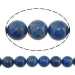 Koraliki Lapis Lazuli, Lapis lazuli naturalny, Koło, niebieski, 8mm, otwór:około 1mm, długość:około 16 cal, 3nici/wiele, około 50komputery/Strand, sprzedane przez wiele