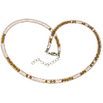 Fashion Necklace Cord, Plastic Net Thread Cord, with Crystal, brass lobster clasp, with 2.5lnch extender chain, brown, 4mm, Length:20Inch, 30Strands/Lot, Sold By Lot