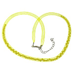Fashion Necklace Cord, Plastic Net Thread Cord, with Crystal, brass lobster clasp, with 2.5lnch extender chain, yellow, 4mm, Length:20Inch, 30Strands/Lot, Sold By Lot
