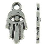 Zinklegering Hamsa Hangers, Zinc Alloy, Evil Hamsa Eye, antiek zilver plated, Joodse Jewelry & Islam sieraden, nikkel, lood en cadmium vrij, 8.50x16x1.50mm, Gat:Ca 2mm, Ca 2000pC's/KG, Verkocht door KG