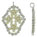 Brass Jewelry Pendants, Rhombus, silver color plated, with glass pearl & with rhinestone, beige, lead & cadmium free, 23x31.50x3.50mm, Hole:Approx 2.5mm, 20PCs/Bag, Sold By Bag