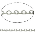 Brass Oval Chain, platinum color plated, nickel, lead & cadmium free, 2.4x0.6mm, Length:Approx 100 m, Sold By PC