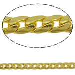Brass Curb Chain gold color plated nickel lead   cadmium free 2.8x1mm Length:Approx 100 m