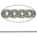 Mosiężny łańcuszek o splocie Pancerka, Mosiądz, Platerowane w kolorze platyny, bez zawartości niklu, ołowiu i kadmu, 2.8x1mm, długość:około 100 m, sprzedane przez PC