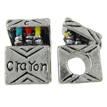 Zinc Alloy European Beads, Cube, antique silver color plated, without troll & enamel, nickel, lead & cadmium free, 10x14.50x10mm, Hole:Approx 4.5mm, 10PCs/Bag, Sold By Bag