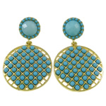 Zinc Alloy Earrings, with Resin, brass post pin, Oval, gold color plated, blue, nickel, lead & cadmium free, 29x47x4mm, Sold By Pair