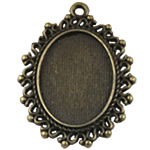 Zinc Alloy Pendant Setting, Flat Oval, antique bronze color plated, nickel, lead & cadmium free, 40x30mm, Hole:Approx 2mm, Inner Diameter:Approx 18x25mm, 90PCs/Bag, Sold By Bag