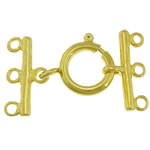 Brass Spring Ring Clasp, gold color plated, 3-strand, nickel, lead & cadmium free, 12mm, 18x2mm, Hole:Approx 2mm, 200PCs/Lot, Sold By Lot