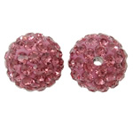 Rhinestone Clay Pave Beads, Round, with rhinestone, light red, 12mm, Hole:Approx 2mm, 50PCs/Bag, Sold By Bag