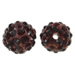 Rhinestone Clay Pave Beads, Round, with rhinestone, deep red, 10mm, Hole:Approx 1.5mm, 50PCs/Bag, Sold By Bag