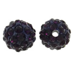 Rhinestone Clay Pave Beads, Round, with rhinestone, dark purple, 10mm, Hole:Approx 1.5mm, 50PCs/Bag, Sold By Bag