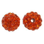 Rhinestone Clay Pave Beads, Round, with rhinestone, deep reddish orange, 10mm, Hole:Approx 1.5mm, 50PCs/Bag, Sold By Bag