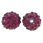 Rhinestone Clay Pave Beads, Round, with rhinestone, fuchsia, 10mm, Hole:Approx 1.5mm, 50PCs/Bag, Sold By Bag