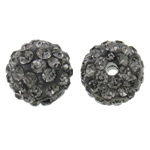 Rhinestone Clay Pave Beads, Round, with rhinestone, grey, 10mm, Hole:Approx 2mm, 50PCs/Bag, Sold By Bag