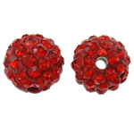 Rhinestone Clay Pave Beads, Round, with rhinestone, Hyacinth, 10mm, Hole:Approx 2mm, 50PCs/Bag, Sold By Bag