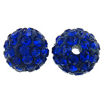 Rhinestone Clay Pave Beads, Round, with rhinestone, dark blue, 10mm, Hole:Approx 2mm, 50PCs/Bag, Sold By Bag