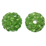 Rhinestone Clay Pave Beads, Round, with rhinestone, light green, 10mm, Hole:Approx 2mm, 50PCs/Bag, Sold By Bag