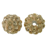 Rhinestone Clay Pave Beads, Round, with rhinestone, yellow cream, 10mm, Hole:Approx 2mm, 50PCs/Bag, Sold By Bag