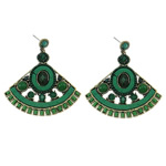 Zinc Alloy Earrings, with Velveteen & Glass Seed Beads & Resin, brass post pin, Fan, antique bronze color plated, with rhinestone, green, nickel, lead & cadmium free, 50x56x4mm, Sold By Pair