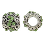 Zinc Alloy European Beads, Drum, antique silver color plated, without troll & with rhinestone, nickel, lead & cadmium free, 10x9mm, Hole:Approx 4.5mm, 10PCs/Bag, Sold By Bag