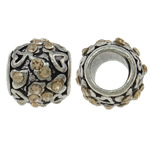 Zinc Alloy European Beads, Drum, antique silver color plated, without troll & with rhinestone, nickel, lead & cadmium free, 10x9mm, Hole:Approx 5mm, 10PCs/Bag, Sold By Bag