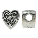 Zinc Alloy European Beads, Heart, antique silver color plated, without troll, nickel, lead & cadmium free, 12x12x8.50mm, Hole:Approx 4mm, 10PCs/Bag, Sold By Bag